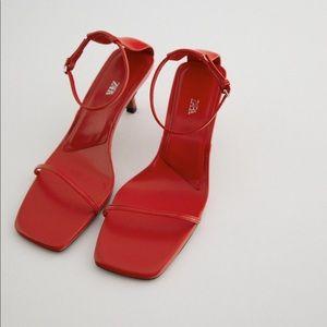 Zara red minimalist heeled leather sandals